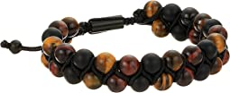 Tigers Eye and Beaded Double Strand Adjustable Bracelet