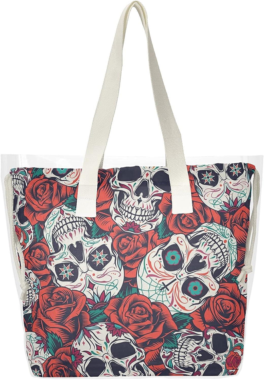 KFBE Award Sugar Skull Women Clear Max 79% OFF Tote Top Bags Sa Gothic Rose Handle
