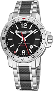 Nabucco Mens Stainless Steel Automatic GMT Watch - 44mm Black Face with Luminous Hands, Date, Sapphire Crystal - Water Resistant 200 Meters Swiss Made Dual Time Zone Watch 3800-SCF-05207
