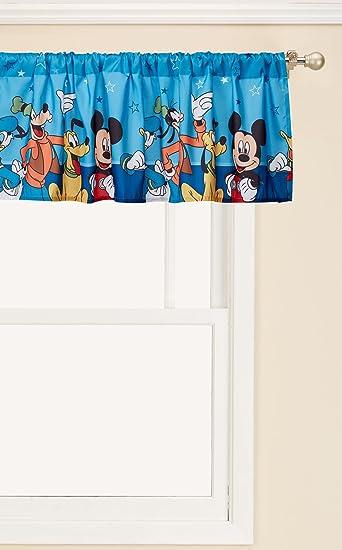 Amazon Com Disney Mickey Mouse Playground Pals Window Valance Blue Home Kitchen