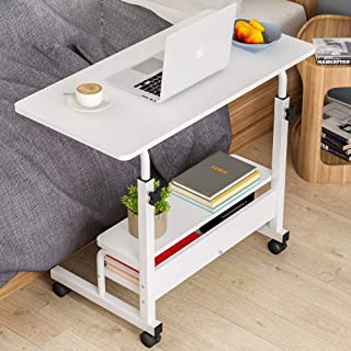 80×40 Rotating Sofa Bed Side Table, Mobile End Table with Storage Shelves, Movable Laptop Table with Sturdy Metal Frame, C...