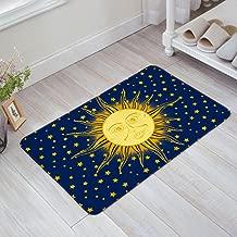 Indoor Doormat Stylish Welcome Mat Hippie Sun and Star Blue and Yellow Entrance Shoe Scrap Washable Apartment Office Floor Mats Front Doormats Non-Slip Bedroom Carpet Home Kitchen Rug 23.6