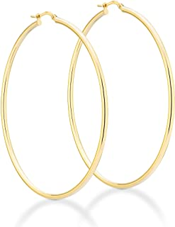 Miabella 18K Gold Over Sterling Silver 2mm High Polished Round Tube Hoop Earrings for Women Men Girls 15mm, 20mm, 30mm, 40mm, 50mm, 60mm Lightweight Earrings Made in Italy