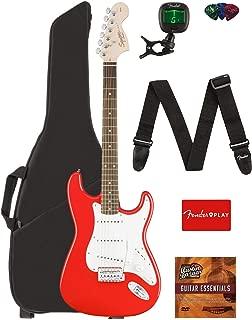 Fender Squier Affinity Series Stratocaster Guitar - Laurel Fingerboard, Race Red Bundle with Gig Bag, Tuner, Strap, Picks, and Austin Bazaar Instructional DVD