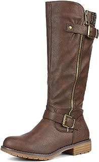 DREAM PAIRS Women's Side Zipper Knee High Riding Boots