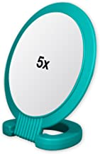 Double Sided Pedestal Mirror Stand - Vanity Round Mirror with 1x and 5x Magnification - Adjustable Handle and Portable Free-Standing Mirror for Travel, Shaving, Bathrrom, Tabletop, Makeup (Turquoise)