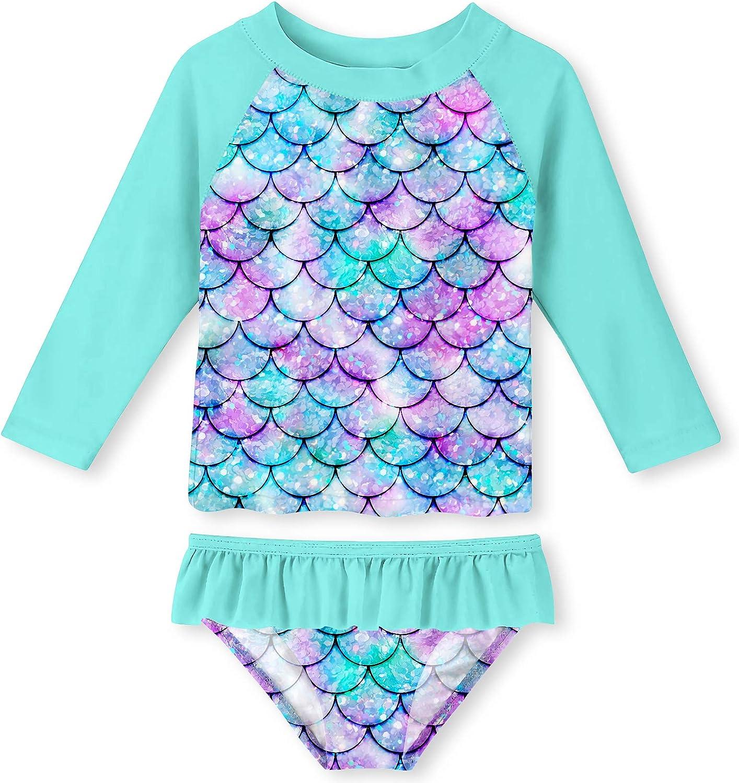 Funnycokid Girls Rash Guard Swimsuit Set Long Sleeve Two Piece Bathing Suit with UPF 50+ UV 2-8 Years