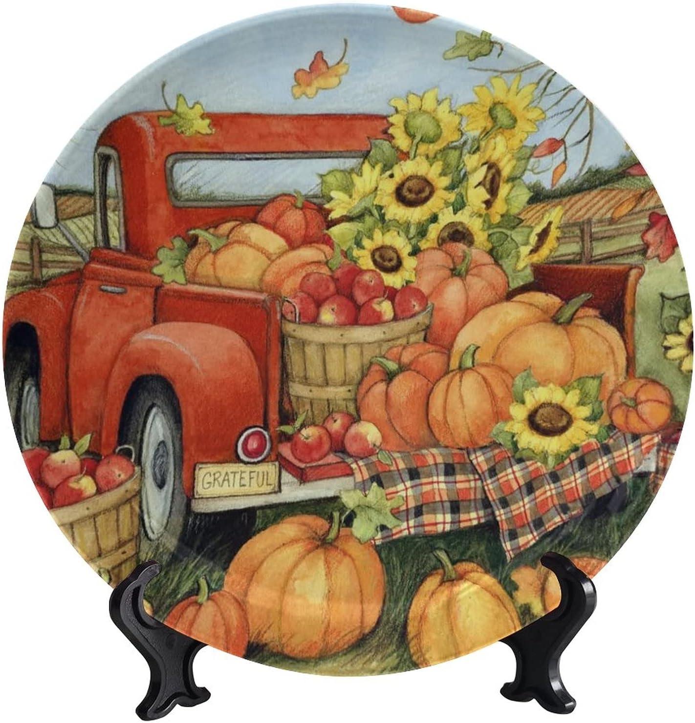 wonderr Fall Thanksgiving Ceramic Sunflower Decorative Plates Special sale item Max 46% OFF P