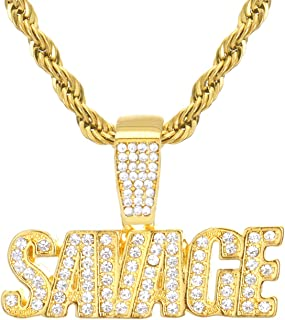 Men's Gold Plated Iced SAVAGE Sign Pendant Rope Chain 24 inch HC 1195 G