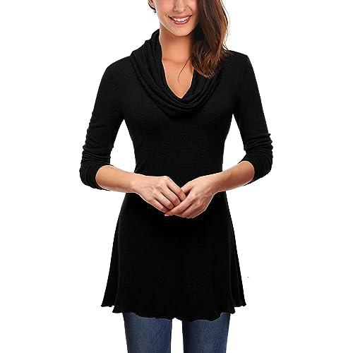 20557e04ed4 DJT Women Cowl Neck A-Line Tunic Stretch Jumper T-Shirt Tops Blouse