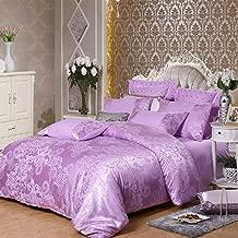 PYCLIFE Luxury Elegant Fabric Jacquard Weave Duvet Cover 3 Piece Quilt Cover Bedding Set King Size (Purple, King)