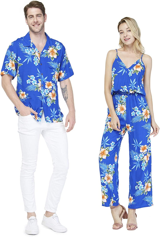 Couple Matching Hawaiian Luau Shirt Jumpsuit in Hibiscus Blue