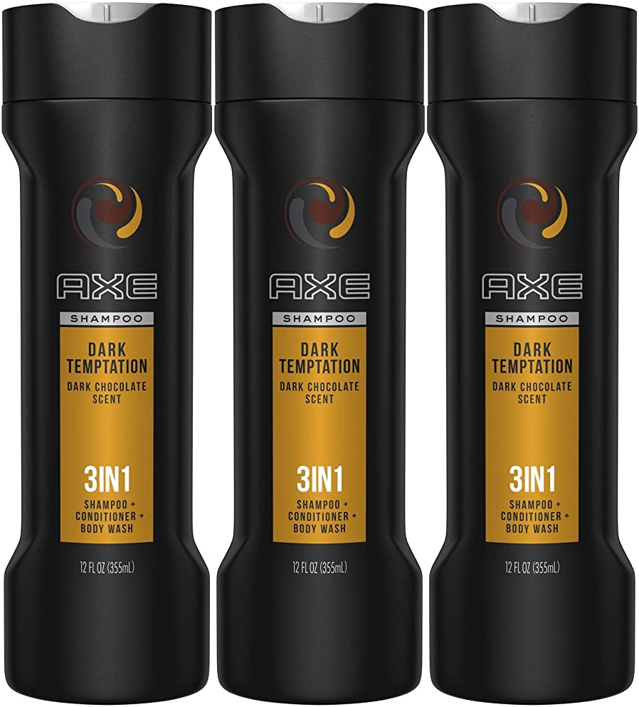 Axe 3-in-1 Shampoo, Conditioner, Body Wash, Dark Temptation, 12 Ounce (Pack of 3)