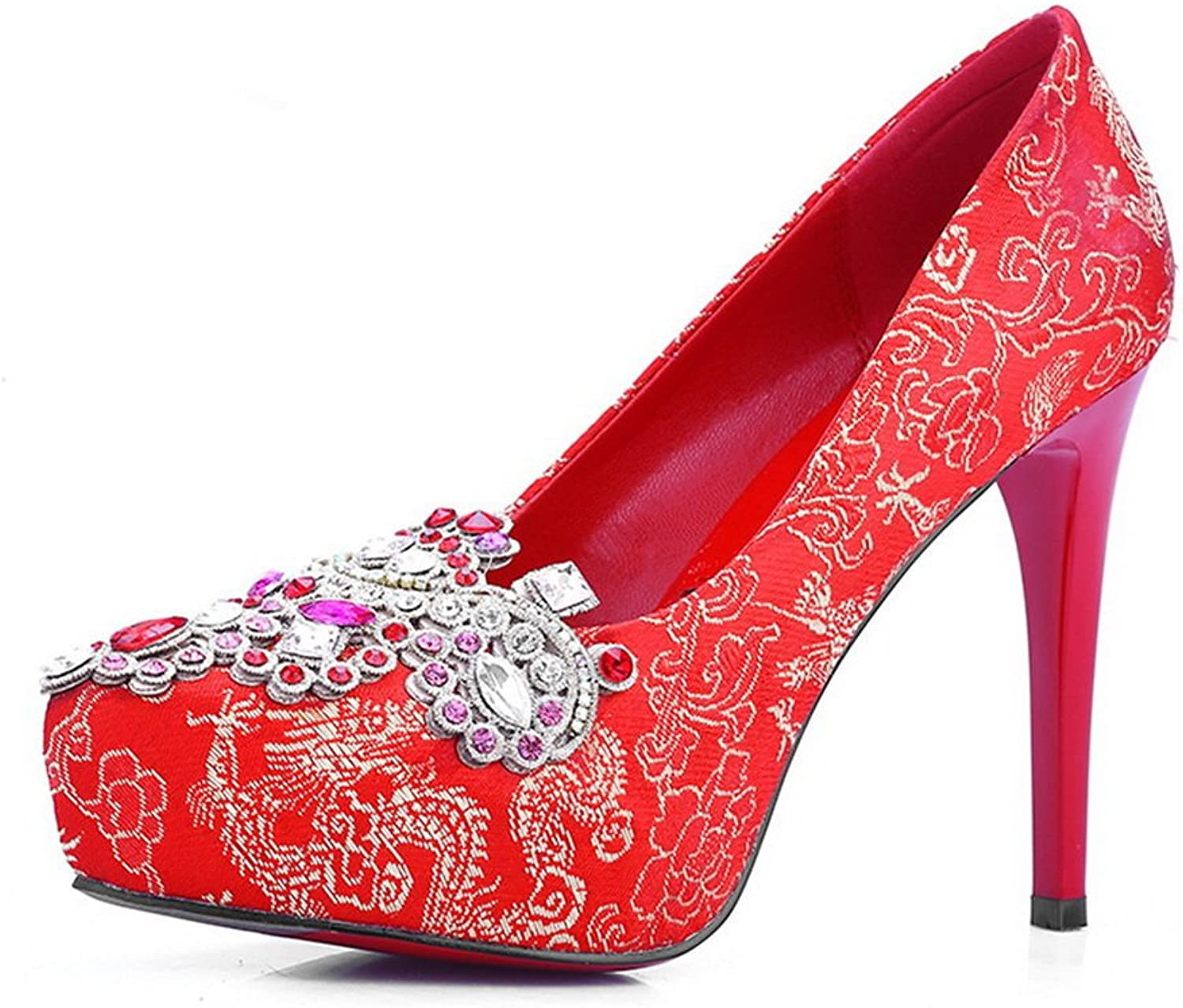 1TO9 Womens Bridal Platform Round-Toe Embroidered Silk Pumps shoes MMS04765