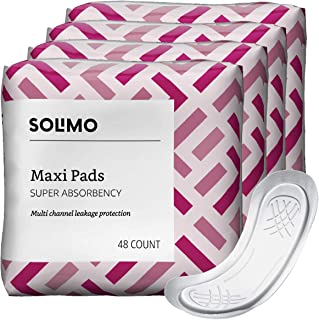 Amazon Brand - Solimo Thick Maxi Pads for Periods, Super Absorbency, Unscented, 192 Count,48 Count (Pack of 4)