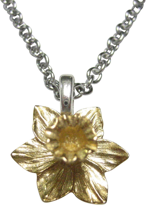 Kiola Designs Gold Toned Welsh Daffodil Flower Pendant Necklace