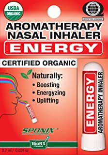 Best Organic Aromatherapy Energy Nasal Inhaler - Made with 100% Organic Essential Oils - 0.7 ml by Sponix