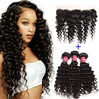 Unice Hair Icenu Series 8A Brazilian Deep Wave Virgin Hair 13x4 Lace Frontal with Bundles 100% Unprocessed Human Hair Extensions Natural Color (16 18 20+14, Frontal)