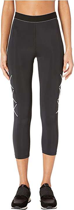 High-Waisted Cropped Leggings with Tipped Elastic