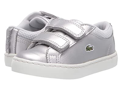 Lacoste Kids Straightset 319 1 (Toddler/Little Kid) (Silver/Off-White) Kid