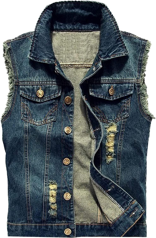 PEHMEA Men's Slim Fit Retro Lapel Sleeveless Button Up Ripped Jeans Denim Biker Vests Jackets