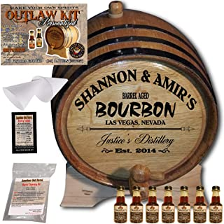 Personalized Whiskey Making Kit (062) - Create Your Own Tennessee Bourbon Whiskey - The Outlaw Kit from Skeeter's Reserve Outlaw Gear - MADE BY American Oak Barrel - (Oak, Black Hoops, 5 Liter)