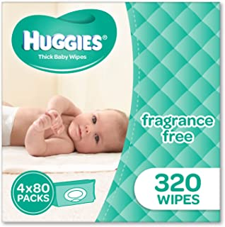 Huggies Fragrance Free Baby Wipes (Pack of 320), 320 Wipes (4 x 80 Pack)