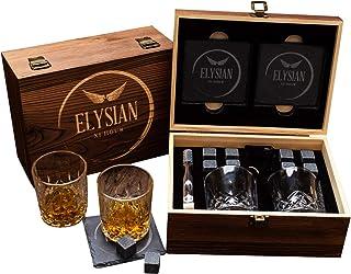 Geschenkset Whiskey-Steine, Whiskey-Gläser, wiederverwendbar Kühlsteine. Whisky-Gläser, 2er-Set, Herren-Geschenk, Damengeschenk, Vater, Trauzeug-Geschenk, Whisky-Steine, Gin-Geschenk