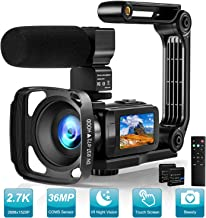 Video Camera 2.7K Camcorder with Microphone Ultra HD 36MP Vlogging Camera for YouTube IR..