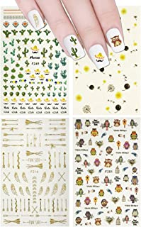 ALLYDREW 4 Sheets Nail Stickers Nail Art Set - Owls & Cactus Nail Stickers