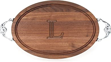 """BigWood Boards W410-VC-L Oval Cutting Board with Our Victorian Handle in Cast Aluminum, 12-Inch by 18-Inch by 1-Inch, Monogrammed """"L"""", Walnut"""