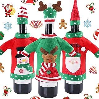 BETOY 3 Pezzi Tappo di Bottiglia di Vino di Natale, Bottiglia di Vino di Babbo Natale,Sacchetti di coperture per Bottiglie...