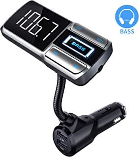 CHGeek-Bluetooth-FM-Transmitter-for-Car, [Bass Booster] V5.0 Bluetooth Radio Adapter Wireless Music Player Car Kit with Hands-Free Calling, 5V/2.4A 1A Dual USB Ports Charger, Support Aux, TF/SD Card.