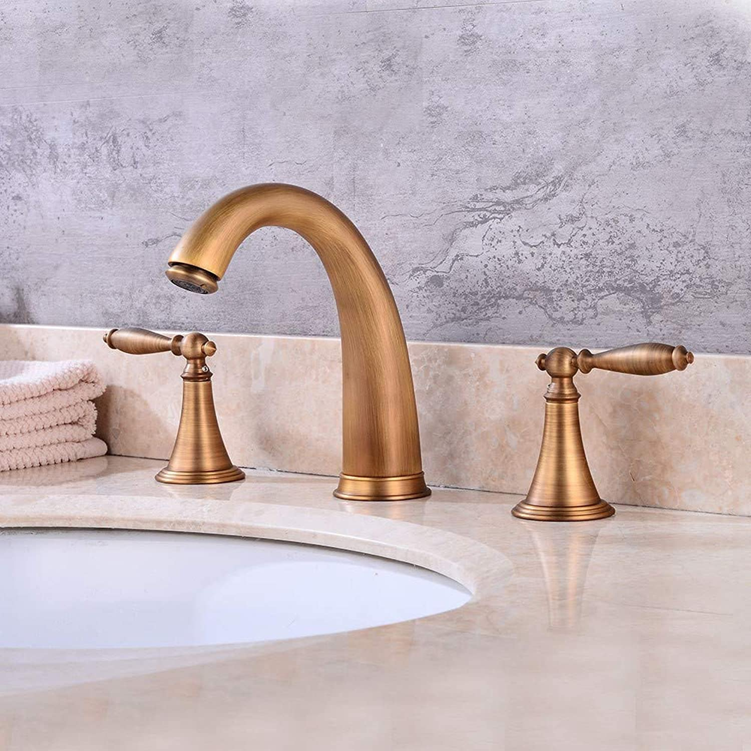 Bathroom Sink Taps Creative Brushed Mixer Mixing Faucet Retro Basin Faucet Brass Bathroom Double Handle Faucet