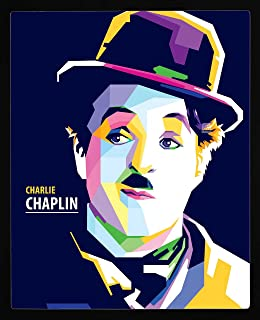 PIPILIKA® Home Decor | Art:-198122 | Charlie Chaplin Painting Picture | 12 inch X 15 inch | With 1 Inch Framing | Wall Dec...