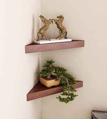 Home Sparkle Corner Wall Shelfs Triangular Shaped Corner Wall Shelves for Living Room Office and Bedroom Set of 2 Brown