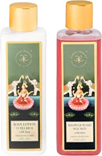 Earth Therapy Rose Shower Wash & Body Lotion With Rose Essential Oil for Brightening Silkening & Refreshing Skin