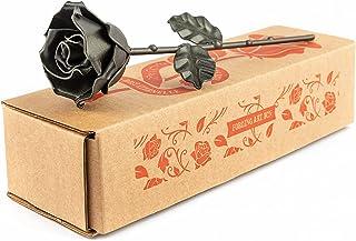 Rose Éternelle en Fer Forgé - Forgée à la Main (Noir)