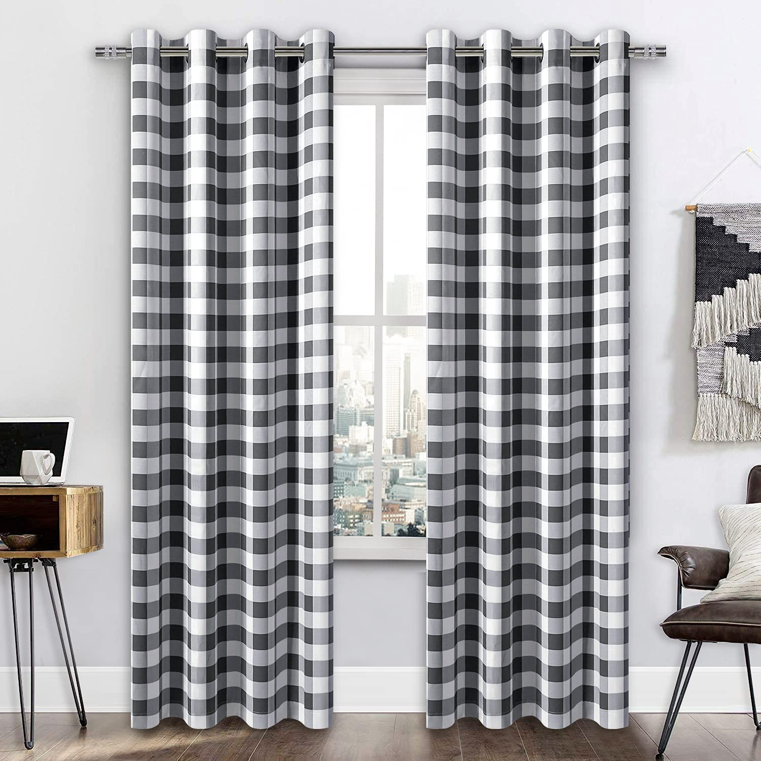 Albuquerque Mall supreme DWCN Buffalo Plaid Blackout Curtains Thermal for Insula Bedroom-