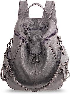 Mujer Mochila Moda Bolso de Hombro Impermeable Bolsa Bandolera Niña Bolso Escolar Backpack para Universidad Trabajo Compras Cita Fiesta Mochila PU Gris