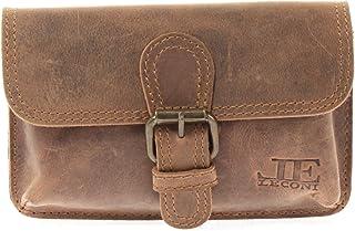 LECONI Gürteltasche Vintage-Look praktische Bauchtasche für Damen  Herren Retro-Style Frauen – Männer kleine Hüfttasche Büffel-Leder 18x10x6cm LE9020