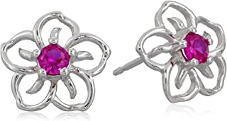 Amazon CollectionSterling Silver Created Ruby Flower Stud Earrings