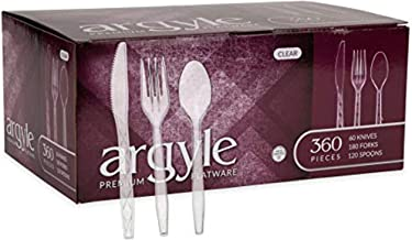 Clear Plastic Cutlery | Heavy Duty & Solid Disposable Silverware Utensils Set | Perfect for Weddings, Buffets, Luncheon & ...