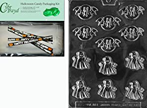 Cybrtrayd MdK25H-H090 Halloween Chocolate Mold with Chocolate Making Supply Kit, Bats and Ghosts, 25 Cello Bags