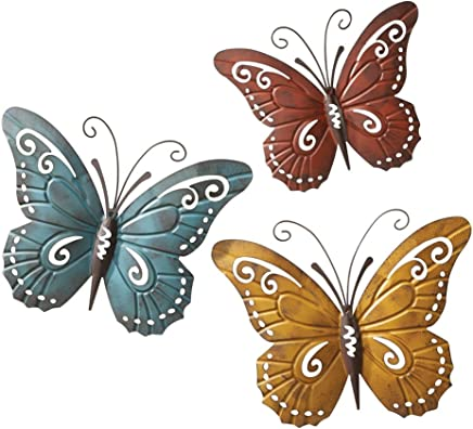 Collections Etc Nature Inspired Metal Butterfly Decorative Wall Art Trio, Hang Indoors or Outdoors