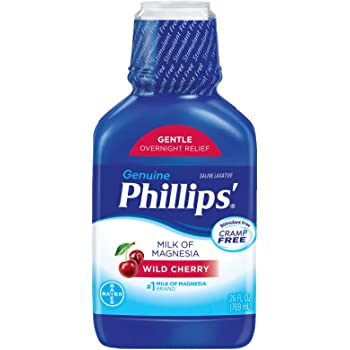 Phillips' Milk of Magnesia Liquid Laxative, Wild Cherry, 26 oz, Cramp Free & Gentle Overnight Relief Of Occasional Constipation, #1 Milk of Magnesia Brand