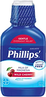 Phillips' Milk of Magnesia Liquid Laxative, Wild Cherry, 26 oz, Cramp Free & Gentle Overnight Relief Of Occasional Constip...