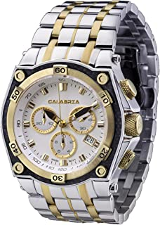 CALABRIA - LEVATA - Gold Two Tone Chronograph Men's Watch with Carbon Fiber Bezel and SS Band