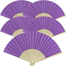 Just Artifacts Folding Paper Hand Fan 8.25-Inch Light Purple (5 pcs)