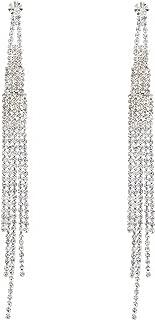 Bridal Long 5 Strands Silver Crystal Earrings